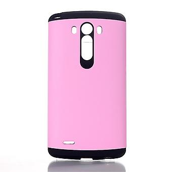 TPU rubber and plastic cover PC to LG G3 (Pink)
