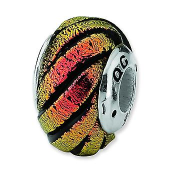 Sterling Silver Reflections Orange Swirl Dichroic Glass Bead Charm