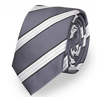 Tie narrow striped White grey by Fabio Farini