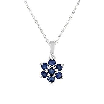 Sterling Silver 1.41ct Natural Blue Sapphire Floral Cluster Pendant on Chain