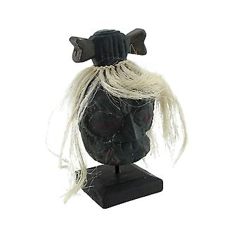 Mounted Shrunken Head with White Hair and Bone Hair-Bow Statue