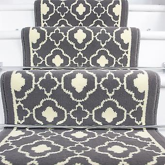70cm Width - Contemporary Grey Trellis Stair Carpet