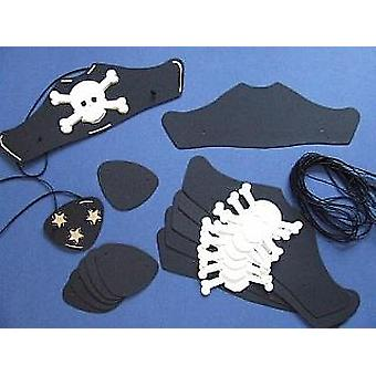 6 Black Card Pirate Hats & Patches Kit for Kids Parties & Crafts