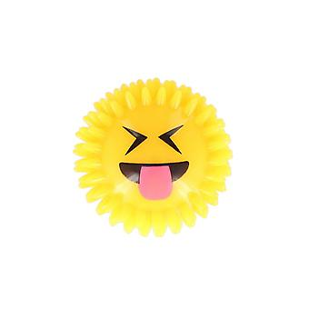 Icon Funny Face Excited Tongue Squeaking Ball With Flashing Light Toy 7.5 Cm