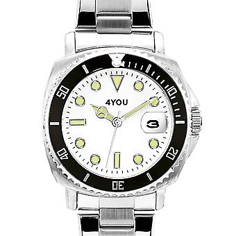 4YOU Herre ur wrist watch analog quartz rustfrit stål 250006000
