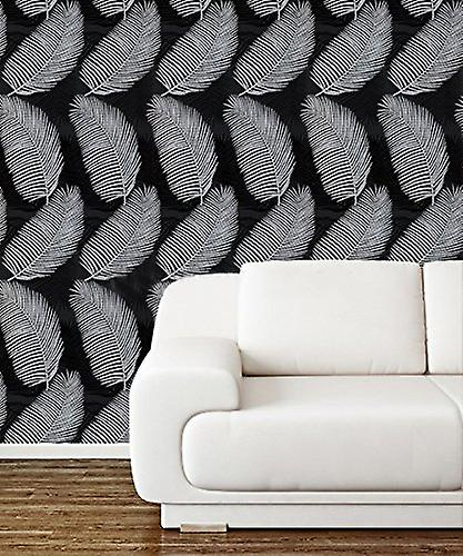 Palm Tree Wallpaper Flowers Exotic Glitter Textured Vinyl Black Grey Silver