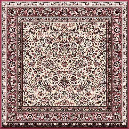 Royal Red 1561-505 Ivory ground with red border  Rectangle Rugs Traditional Rugs