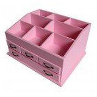 Pink Wooden Cosmetic Makeup Organiser Storage & Jewellery Box 4 Drawer Holder
