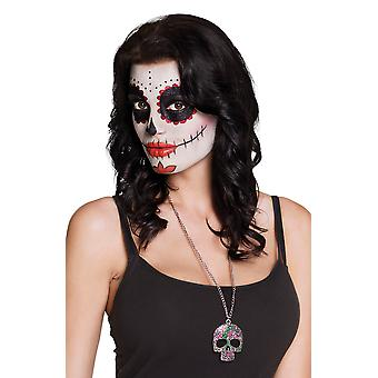 Adults Halloween Skull Face Catrina Necklace Fancy Dress Accessory