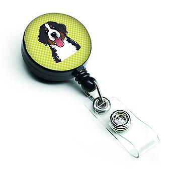Checkerboard Lime Green Bernese Mountain Dog Retractable Badge Reel