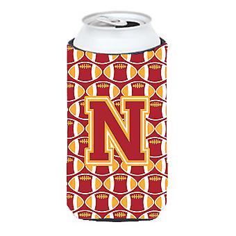 الحرف N لكرة القدم الكاردينال والذهب صبي طويل القامة المشروبات عازل نعالها