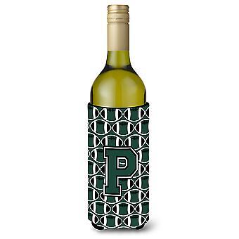 Letter P Football Green and White Wine Bottle Beverage Insulator Hugger