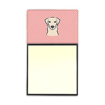 Checkerboard Pink Yellow Labrador Refiillable Sticky Note Holder or Postit Note