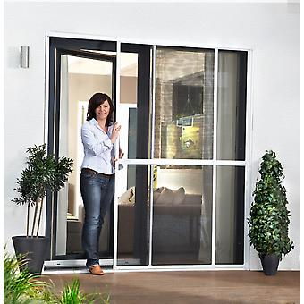 Double sliding door fly screen door Kit insect protection 230 x 240 cm in Brown