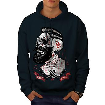 Skull Hippie Beard Men NavyHoodie | Wellcoda