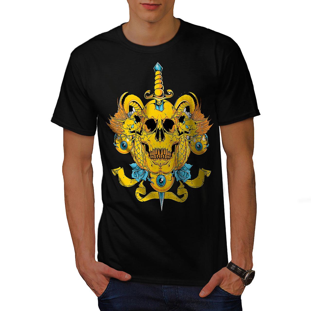 Death Eye Rose Art Skull Men Black T-shirt | Wellcoda