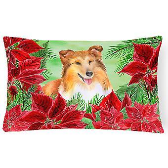 Sheltie Poinsettas Canvas Fabric Decorative Pillow