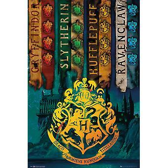 Harry Potter casa bandeiras Maxi cartaz
