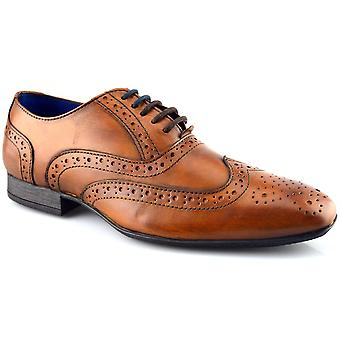 Mens New Tan Leather Lace Up Smart Wedding Dress Brogues Formal Shoes