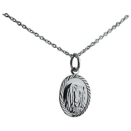 Silver 14x11mm oval Our Lady of Sorrows Pendant with a rolo Chain 14 inches Only Suitable for Children