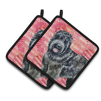 Carolines Treasures  BB9764PTHD Black Russian Terrier Love Pair of Pot Holders