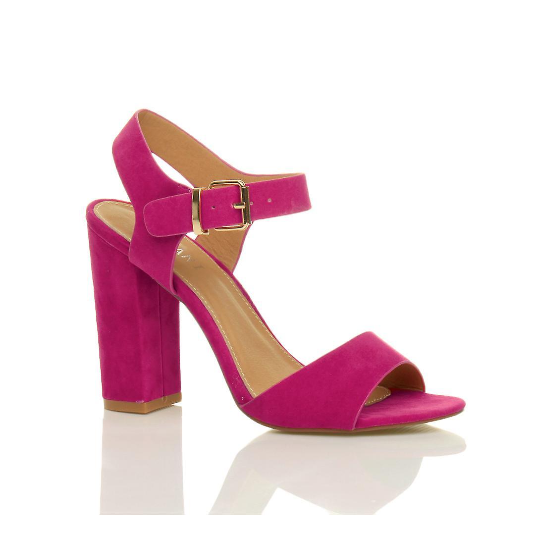 Cinturino alla caviglia di Ajvani womens blocco alto tacco fibbia sandali peep toe scarpe