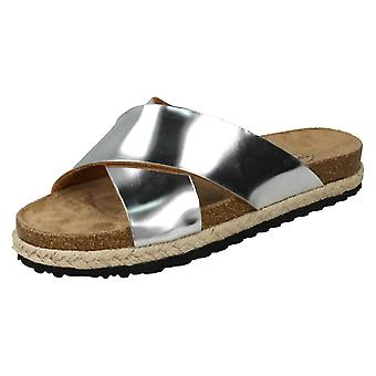Ladies Spot On Cross Over Strap Mules F10824