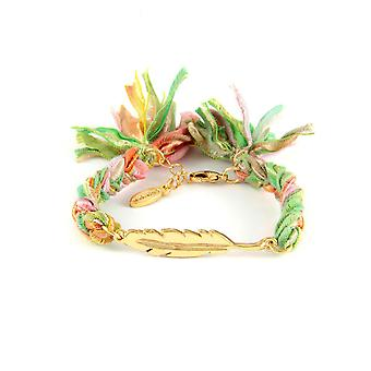 Ettika - Bracelet Yellow Gold feather and cotton ribbons braided Multicolor