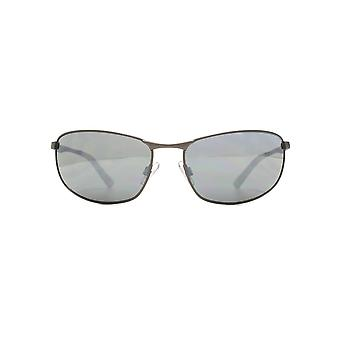 FCUK Metal Oval Sports Wrap Sunglasses In Matte Gunmetal