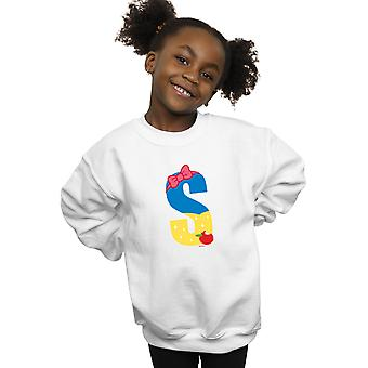 Disney Mädchen Alphabet S ist für Schnee weiß Sweatshirt