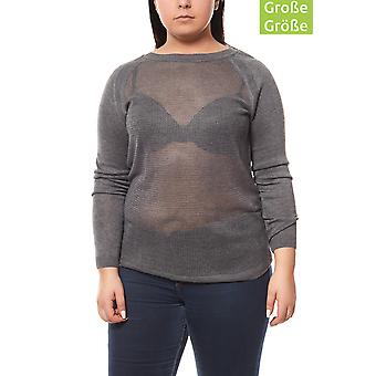 CORLEY ladies knitted pullover plus size fine gauge grey