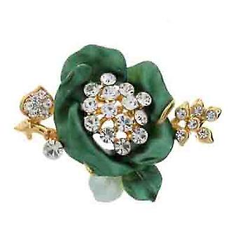Brooches Store Green Enamel & Clear Crystal Rose Brooch (Gold Tone)