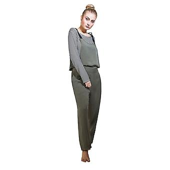 Jumpsuit with Striped T-shirt - Khaki Overall Playsuit One size UK 8-12