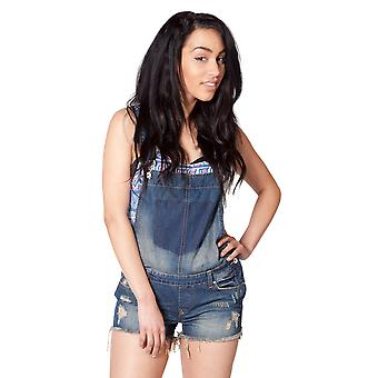 Dungaree Shorts - Vintage Wash Ladies Denim Bib Overall Shorts Shortalls