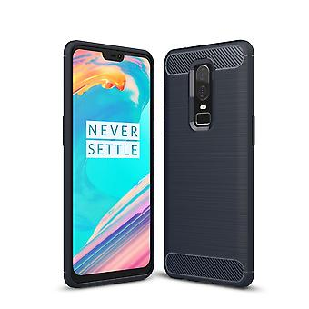 OnePlus 6 cover silicone blue carbon look case TPU mobile cover of bumper 211761