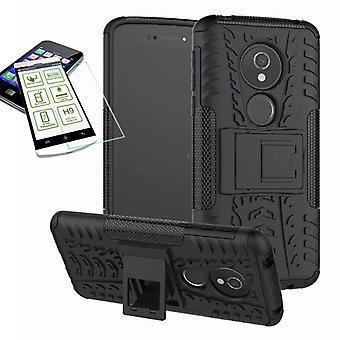 For Motorola Moto E5 play hybrid case 2 piece black + tempered glass bag case cover sleeve new