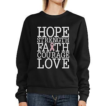 Hoop kracht geloof liefde Breast Cancer Support Sweatshirt Unisex