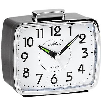 Atlanta 1654/7 alarm clock quartz analog black with Bell signal