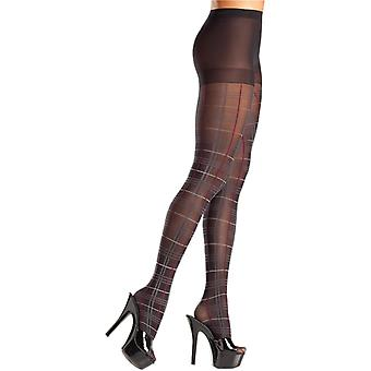 Be Wicked BW685 Plaid pantyhose with red accent