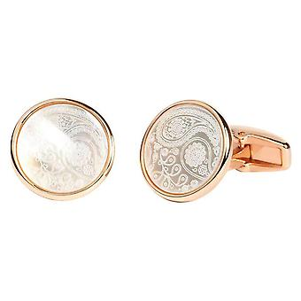 Simon Carter Mother of Pearl Paisley Cufflinks - Rose Gold/White