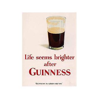 Guinness Life Seems Brighter Steel Fridge Magnet