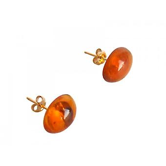 Ohrstecker Bernstein Ohrringe DILEK orange vergoldet