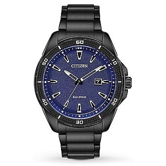 Citizen Drive acciaio inox nero Mens Watch AW1585 - 55L