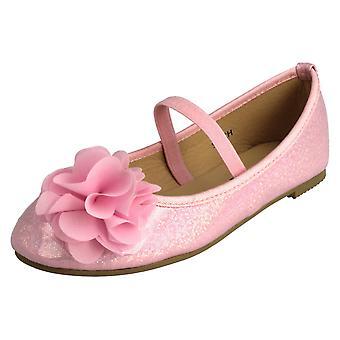 Girls Spot On Flower Trim Ballerina Shoes H2392
