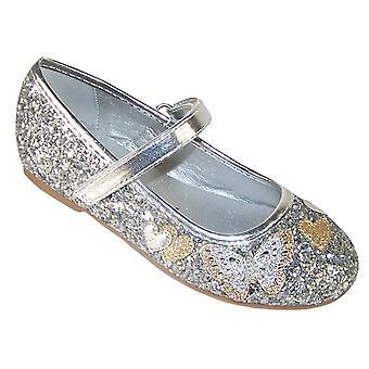 Piger sølv funklende glitter ballerina fest sko