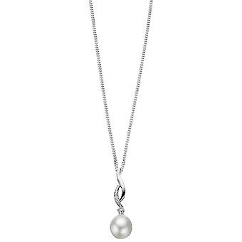 Elements Silver Freshwater Pearl Twisted Pendant - Silver/White
