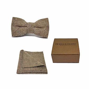 Pajarita y conjunto Plaza de bolsillo de lujo espiga Tweed Marrón hombres | En caja