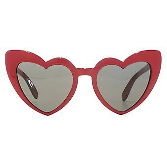 Saint Laurent SL 181 LOULOU Heart Sunglasses In Red