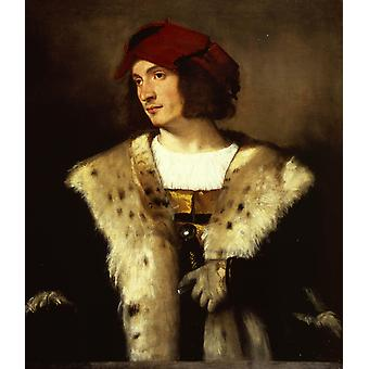 Portrait of a man in a red cap, Titian, 60x50cm