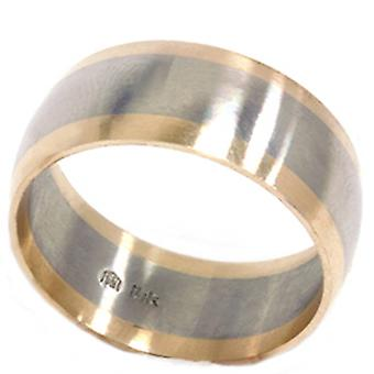خاتم الذهب الأصفر الأبيض 8 مم الانتهاء من الحرير رجالي اثنين من لهجة الزفاف الفرقة ك 14